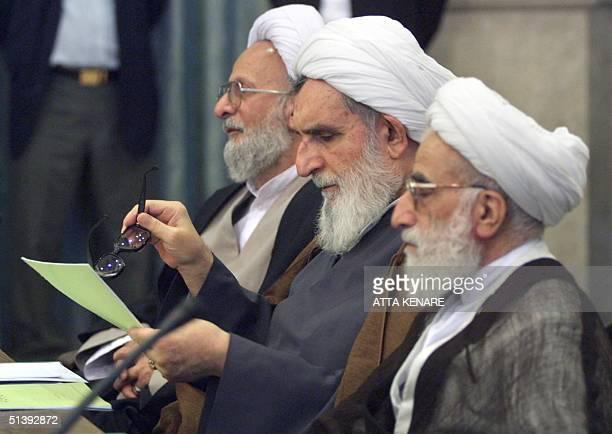 Top Iranian conservatives Mohammad Taqi Mesbah Yazdi Ayatollah Vaez Tabassi and head of the Guardians Council Ayatollah Ahmad Jannati attend the...