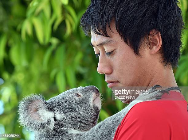 Top Japanese tennis player Kei Nishikori holds a koala on the sidelines of day three of the Brisbane International tennis tournament in Brisbane on...
