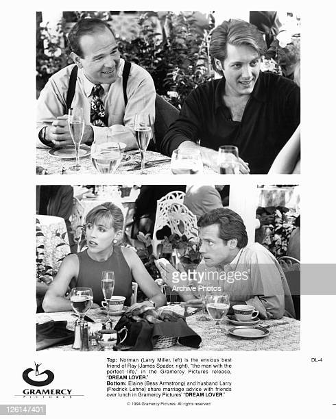 Larry Miller And James Spader at table talking to others Bottom Bess Armstrong And Fredrick Lehne talk with other at table in a scene from the film...