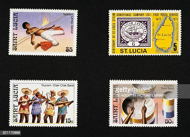 Top left and bottom postage stamps from the series honouring local folklore and culture depicting Limbo dancer ChakChack group Drummer top right...