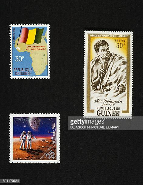 Top left postage stamp commemorating the anniversary of independence Guinea top right postage stamp depicting King Behanzin Guinea bottom postage...