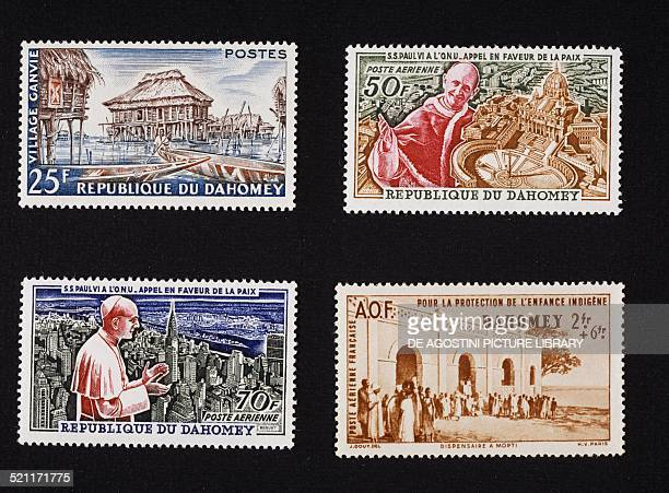 Top left postage stamp depicting the lakeside village of Ganvie 1960 top right and bottom left postage stamp from the series commemorating the Appeal...