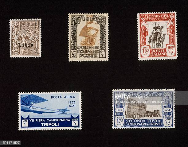 Top left postage stamp from the first series issued by Italy after the conquest of Libya with Libya overprinted postage stamp from the Painting...