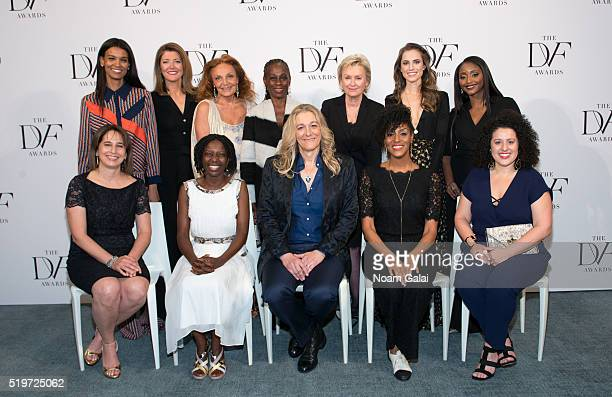 Top Liya Kebede Norah O'Donnell Diane von Furstenberg Chirlane McCray Tina Brown Allison Williams and Isha Sesay Bottom Maria Pacheco Agnes Igoye...
