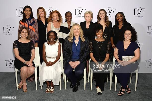 Top Liya Kebede Norah O'Donnell Diane von Furstenberg Chirlane McCray Tina Brown Allison Williams and Isha Sesay Bottom Maria Pacheco Agnes Igoye...