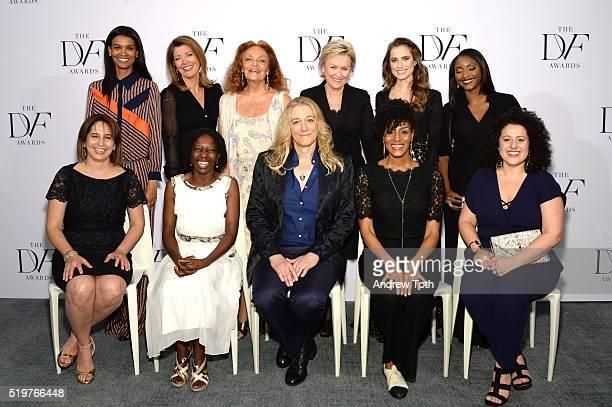 Top Liya Kebede Norah O'Donnell Diane von Furstenberg Tina Brown Allison Williams and Isha Sesay Bottom Maria Pacheco Agnes Igoye Martine A Rothblatt...