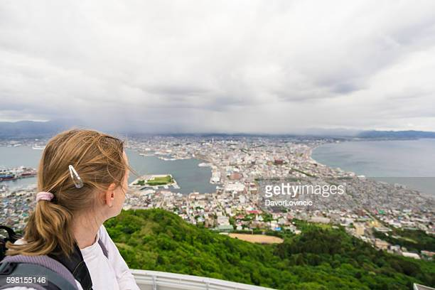 top look of roofs from hakodate on hokkaido, japan - look back at early colour photography imagens e fotografias de stock