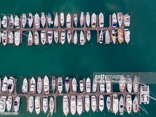 top looking down at boat park. - auckland stock pictures, royalty-free photos & images