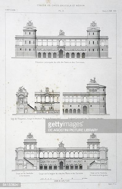 Top main elevation of the towers and prisons centre Loggia of the Emperor and a portion of the lateral facade bottom Cross section of the Circus with...