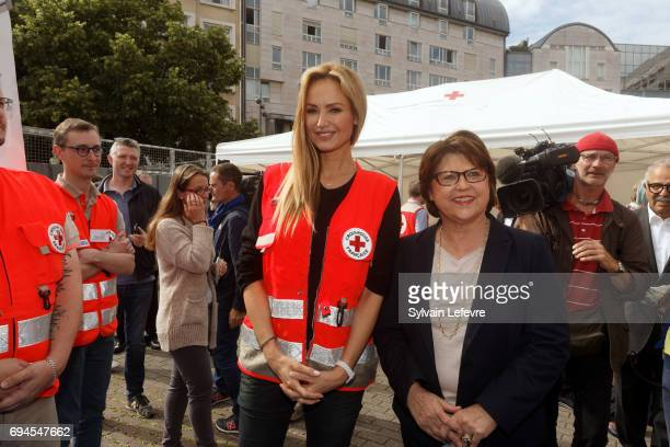 Top model Adriana Karembeu attends Red Cross campaign launching with Lille's mayor Martine Aubry on June 10 2017 in Lille France