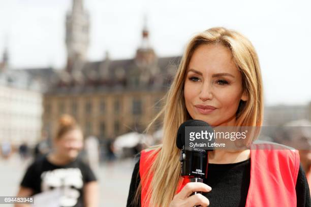 Top model Adriana Karembeu speaks in an interview as she attends Red Cross campaign launching on June 10 2017 in Lille France