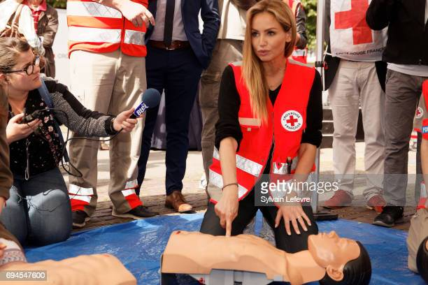 Top model Adriana Karembeu takes part a simulation for Red Cross campaign launching on June 10 2017 in Lille France