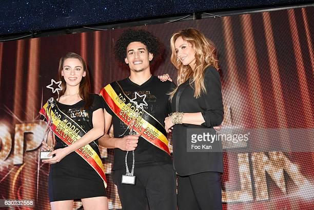 Top Model Belgium 2017 awarded girl model Manon Louvrier Top Model Belgium 2017 awarded boy model Gavin Diaz Garcia and Adriana Karembeu attend the...