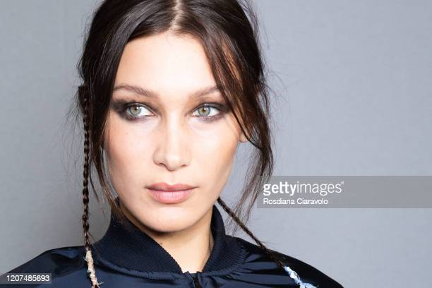 Top Model Bella Hadid is seen backstage at the Max Mara fashion show on February 20, 2020 in Milan, Italy.