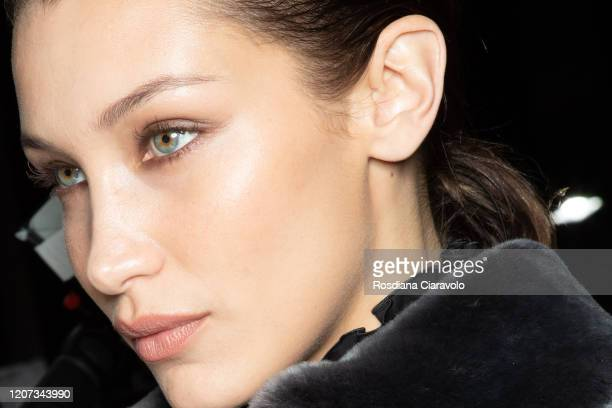 Top Model Bella Hadid, make up detail, is seen backstage at the Alberta Ferretti fashion show on February 19, 2020 in Milan, Italy.