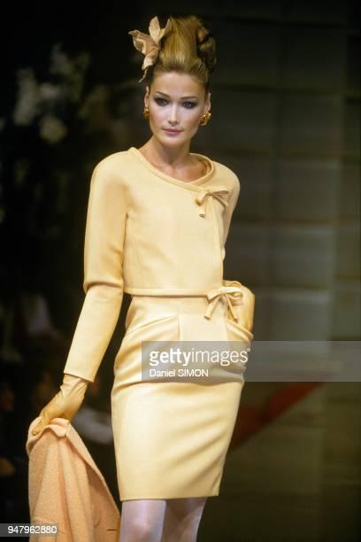 Top Model Carla Bruni At Valentino s Haute Couture Fall Winter 1995 1996 Show, Paris, July 9, 1995.