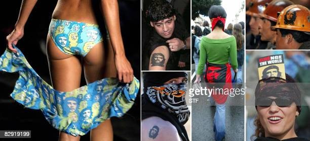 Top model Gisele Bundchen wears a bikini with the image of revolutionary leader Ernesto Che Guevara in Sao Paulo Fashion Week 15 July 2002 Argentine...