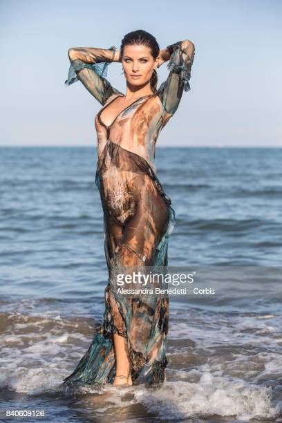 Top Model Isabeli Fontana is seen posing on the beach of the Excelsior Hotel during the 74th Venice Film Festival on August 29 2017 in Venice Italy