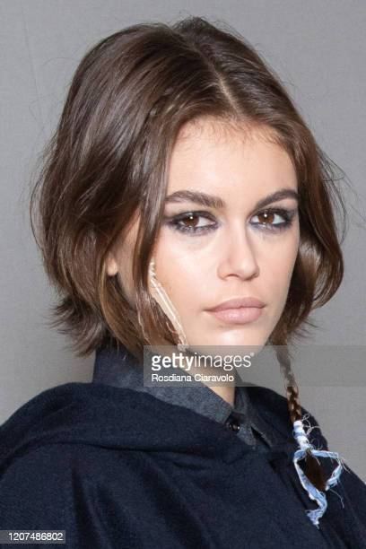 Top Model Kaia Gerber is seen backstage at the Max Mara fashion show on February 20 2020 in Milan Italy