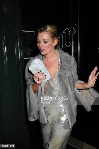 Top Model Kate Moss leaves the Gossip Concert Party Hosted by Fendi at the VIP Room Theater on March 12 2009 in Paris France