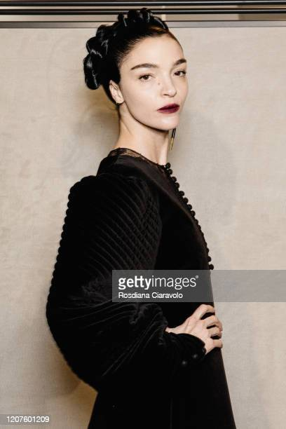 Top Model Mariacarla Boscono is seen backstage at the Fendi fashion show on February 20, 2020 in Milan, Italy.