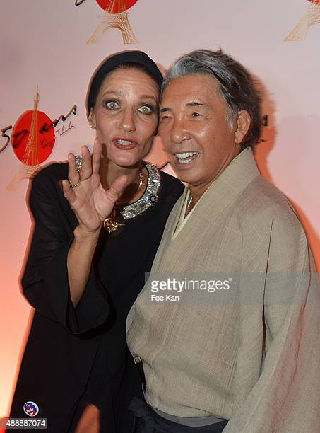Top model Marpessa Hennink and Kenzo Takada attend the Kenzo Takada Celebrates 50 Years of Life in Paris at Le Pre Catalan on September 16 2015 in...