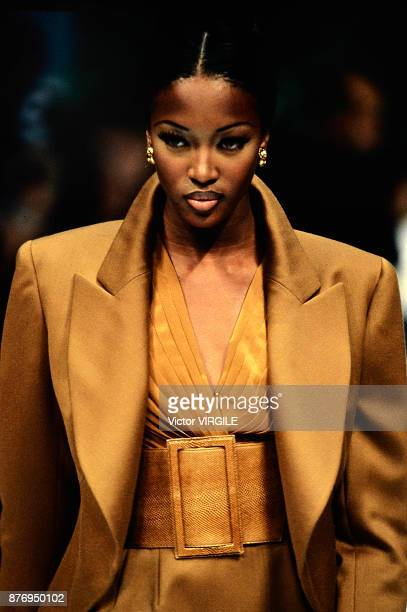 Top model Naomi Campbell walks the runway during the Azzedine Alaia Ready to Wear Spring/Summer 1992 fashion show as part of the Paris fashion week...