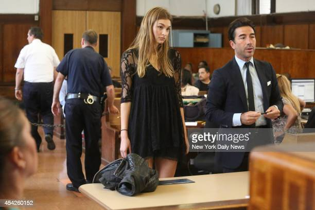 Top model Roosmarijn de Kok appears in Manhattan Criminal Court with her defense lawyer Sal Strazzullo for allegedly shoplifting fish oil and three...