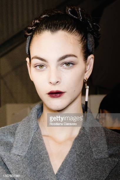 Top Model Vittoria Ceretti is seen backstage at the Fendi fashion show on February 20 2020 in Milan Italy