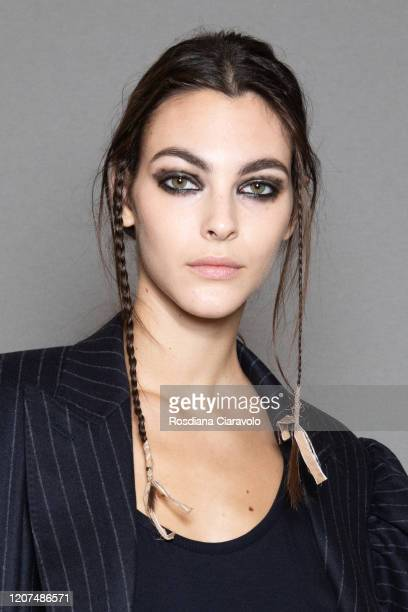 Top Model Vittoria Ceretti is seen backstage at the Max Mara fashion show on February 20 2020 in Milan Italy
