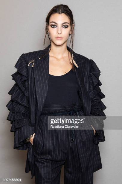 Top Model Vittoria Ceretti is seen backstage at the Max Mara fashion show on February 20, 2020 in Milan, Italy.