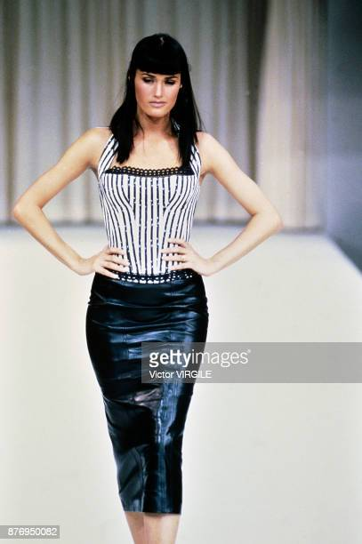 Top model Yasmine Le Bon walks the runway during the Azzedine Alaia Ready to Wear Spring/Summer 1992 fashion show as part of the Paris fashion week...