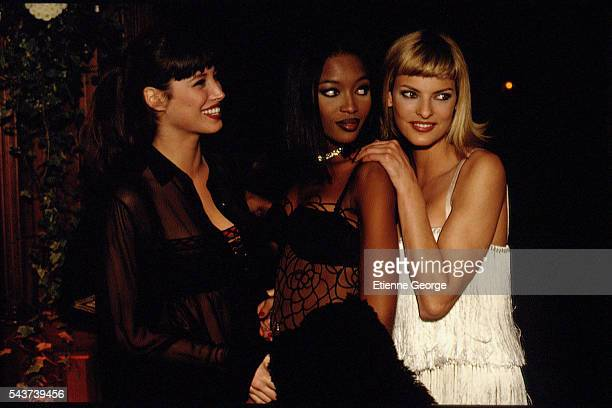 Top models Christy Turlington Naomi Campbell and Linda Evangelista on the set of the film PrêtàPorter directed by American director Robert Altman