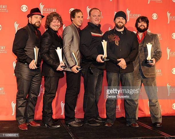 Top New Vocal Duo or Group award winner Zac Brown Band poses in the press room during the 44th annual Academy Of Country Music Awards held at the MGM...