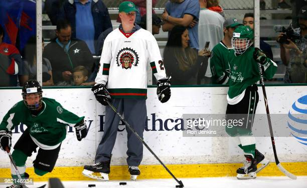 Top NHL Draft prospect Rasmus Dahlin of Sweden participates in the Top Prospects Youth Hockey Clinic ahead of the 2018 NHL Draft at the Dr Pepper...
