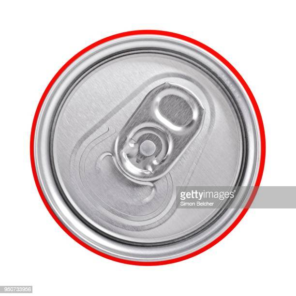 Top of a drinks can with a ring pull, close up, cutout, studio shot