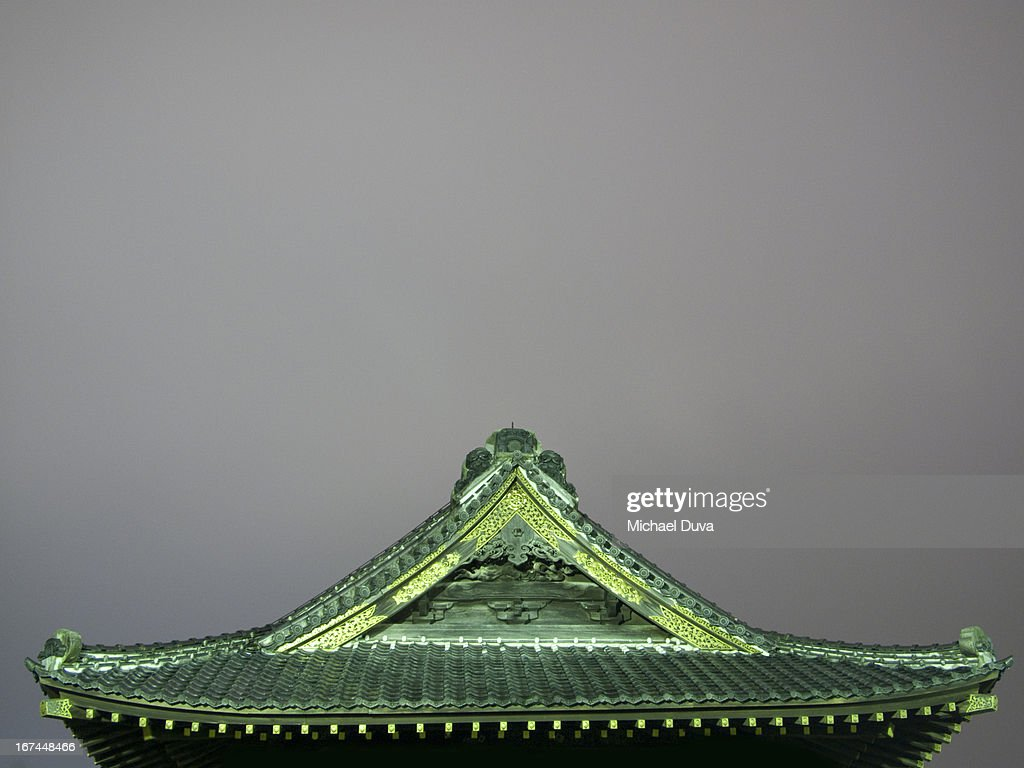 top of a shrine at night illuminated : Stock Photo