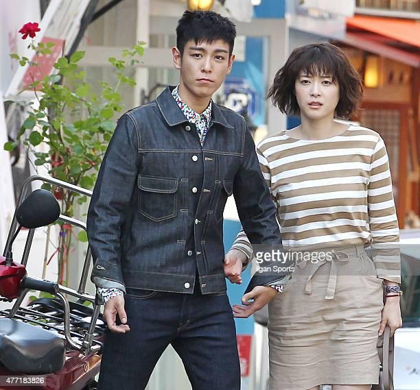 Top of Bigbang and Ueno Juri are seen during drama filiming at Samcheongdong on June 10 2015 in Seoul South Korea