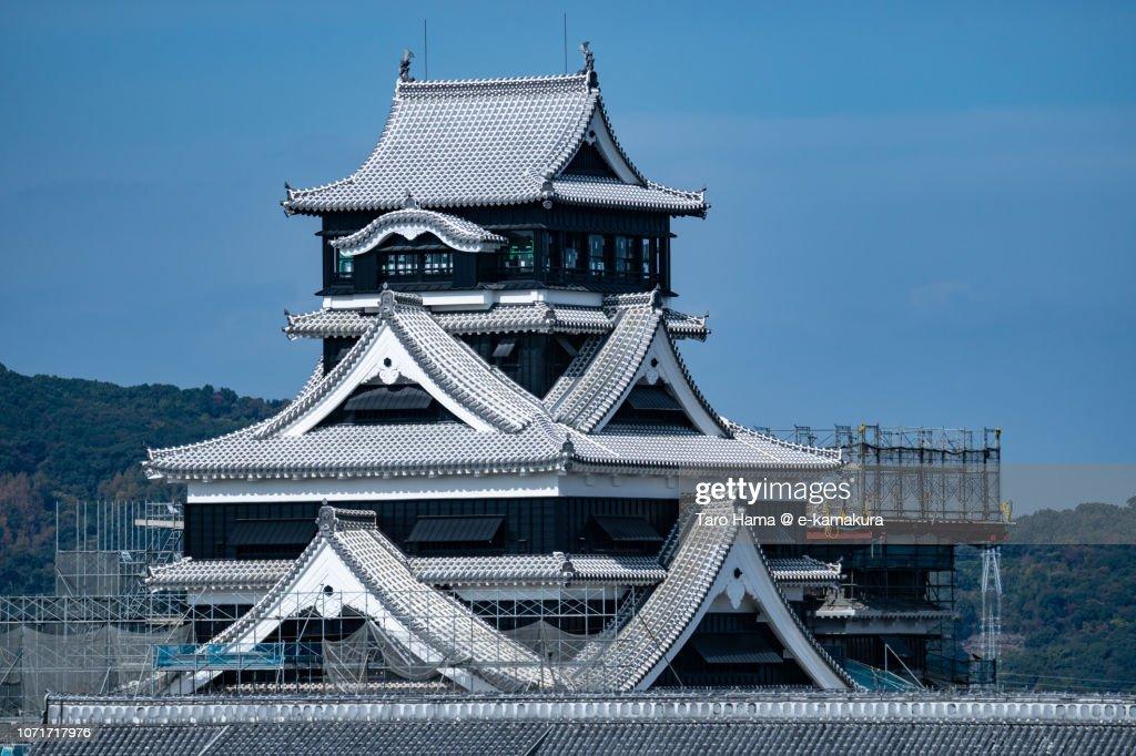 Top of Kumamoto Castle in Kumamoto city in Japan : Stock Photo
