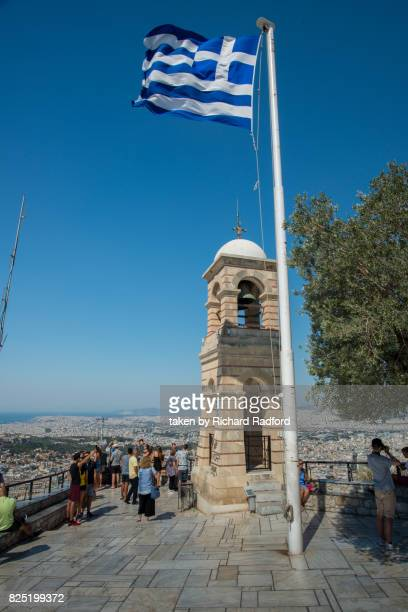 top of mount lycsabettus, athens - flagpole sitting stock photos and pictures