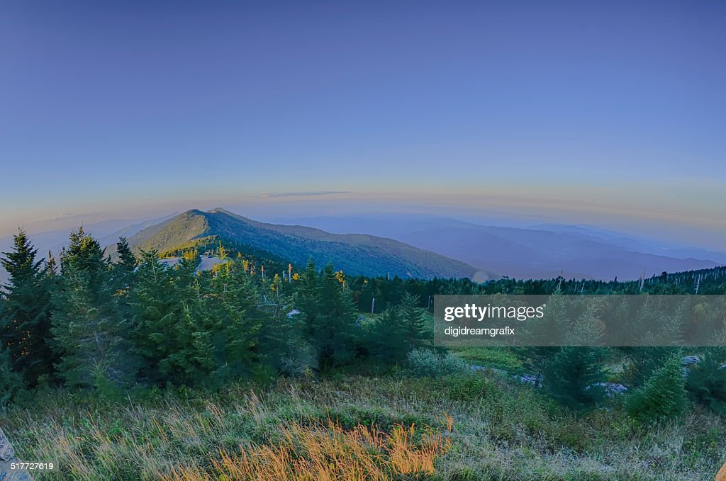 top of mount mitchell before sunset : Stock Photo