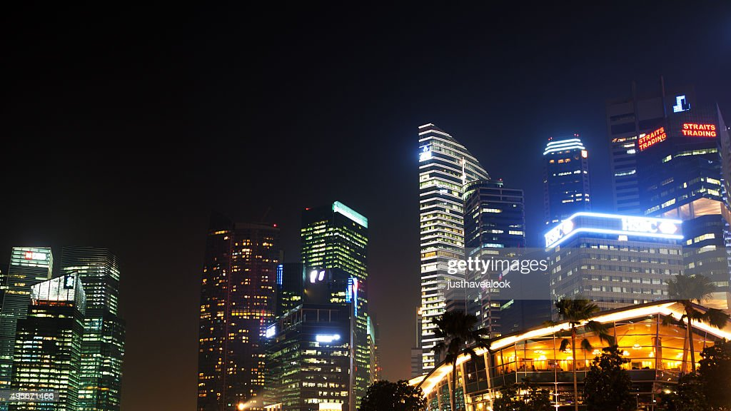 Top Of Skyscrapers In Singapore At Night Stock Photo
