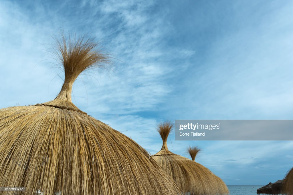 Top of some beach parasols against an almost blue sky : Foto de stock