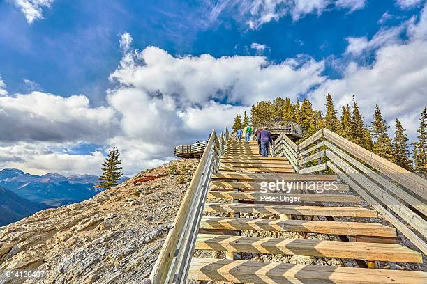 top of sulphur mountain,banff,canada - sulphur mountain stock pictures, royalty-free photos & images