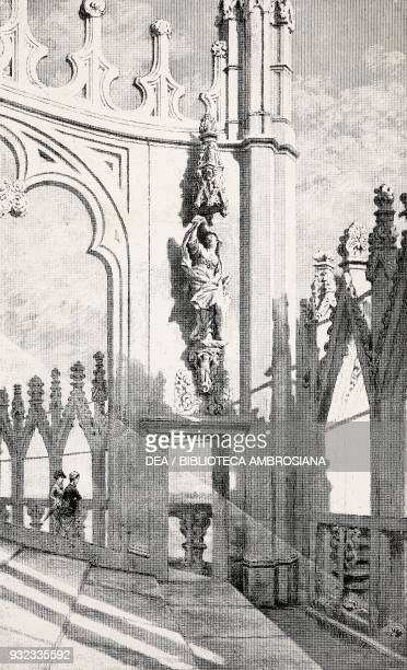 Top of the Cathedral Milan Italy drawing by Quintilio Michetti engraving from L'Illustrazione Italiana No 47 November 20 1881