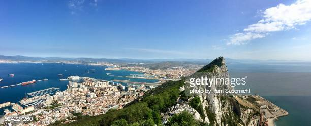 top of the rock of gibraltar, panoramic looking toward spain - gibraltar stock pictures, royalty-free photos & images