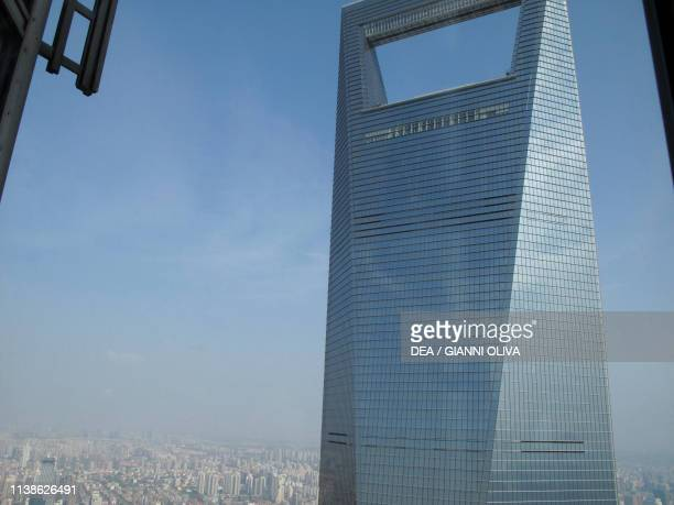 Top of the Shanghai World Financial Center Pudong economic district and Huangpu River Shanghai China