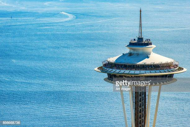 top of the space needle - puget sound stock pictures, royalty-free photos & images