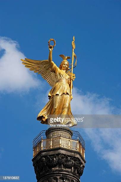 Top of  Victory Column with statue in Berlin.