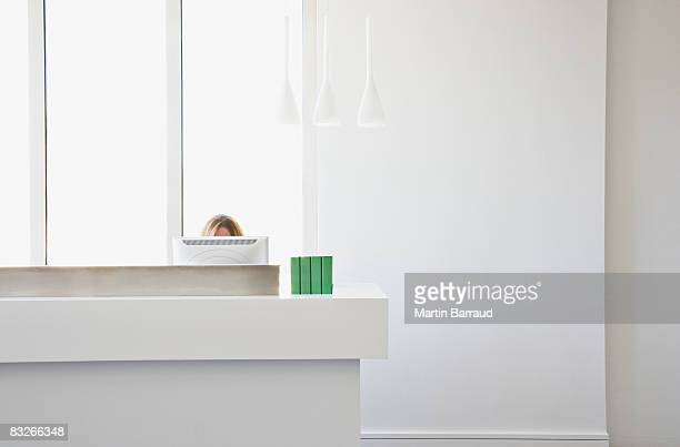 top of woman's head over computer monitor - receptionist stockfoto's en -beelden